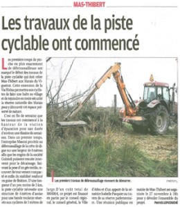 Travaux piste cyclable Mas-Thibert